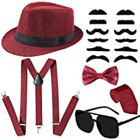 1920s Mens Accessories Set,Manhattan Fedora Hat Suspender Y Shape Pre Tied Bow Tie, Bow Tie & Mustache Retro Glasses