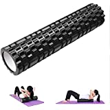 Yescom 62cm Yoga Roller Foam Grid Trigger Point Massage Pilates Physio Gym Exercise EVA PVC Black
