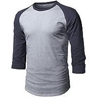 Ma Croix MX Mens Baseball Raglan 3/4 Sleeve Casual Basic Plain T Shirts