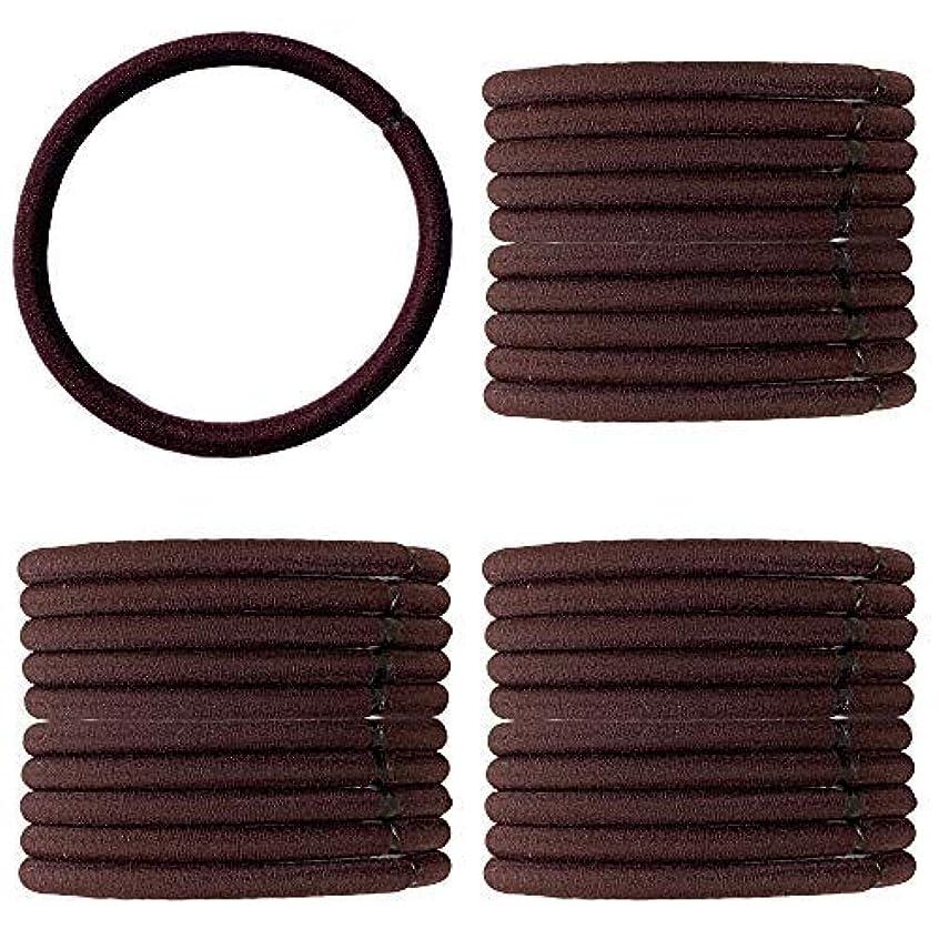 配送ポーター合体[CLAN(クラン)] へアゴム リングゴム 結び目のない内径 5cm 太さ4mm 茶色 30点