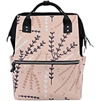 ママバッグ マザーズバッグ リュックサック ハンドバッグ 旅行用 木ノ枝 ピンク背景 ファション