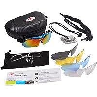 ROBESBON 偏光レンズ スポーツサングラス UVカット ミラーレンズ フルセット専用交換レンズ5枚 4カラー