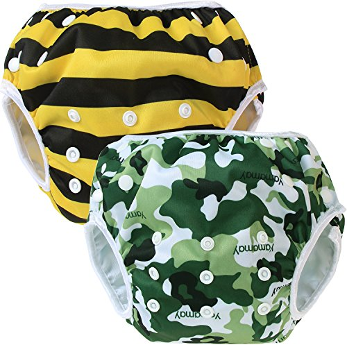 Teamoy 水遊びパンツ 2点セット 0-3歳 赤ちゃん用 ボタンでサイズ調整可能 防水外層 ポリエステルメッシュ内層 オムツカバー スイミング教室・公園・海水浴・温泉旅行(迷彩+ミツバチ)