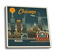 Chicago Illinois - Retro Skyline (Set of 4 Ceramic Coasters - Cork-backed, Absorbent) by Lantern Press