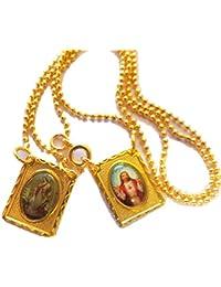 Angelo Custode Del Sacro Cuore Di Gesù 18 K PLACCATO scapolare Rosario Medaglia