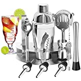 YOMYM Cocktail Bar Set Kit 12 Pieces Bar Utensils, Sets for Bar Cocktail Shaker Stainless Steel. Ideal Set for Manufacturers