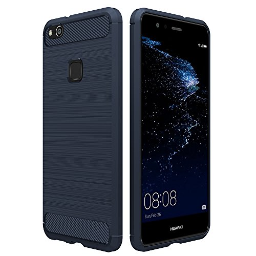 Huawei P10 Lite ケース, Simpeak ラギッド P10 ライト 炭素繊維カバー TPU保護バンパー 弾力性付き (ダークブルー)