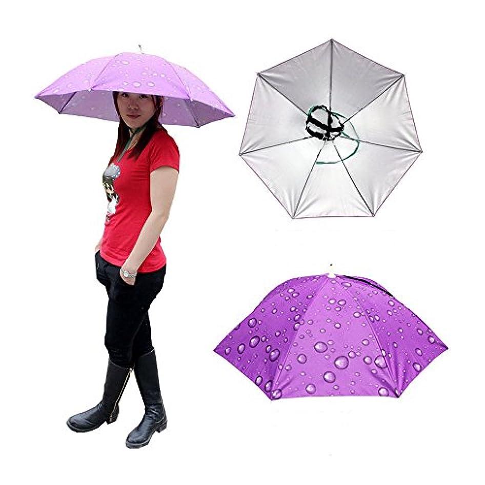 Accinouter 折りたたみ傘 帽子 ヘッドウェア 30.3インチ、ハンズフリー サンシェード 二層保護 紫外線対策 ゴルフ 旅行 釣り ガーデニング ビーチ キャンプ 雨 パーティー用
