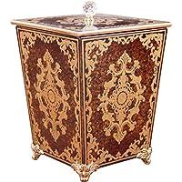 XC ゴミ箱 豪華スタイルのゴミ箱/ホーム四角形リビングルームレトロバスルーム使用することができ、アメリカンスタイルのリビングルームクリエイティブ木製のごみ箱 (色 : Brown)