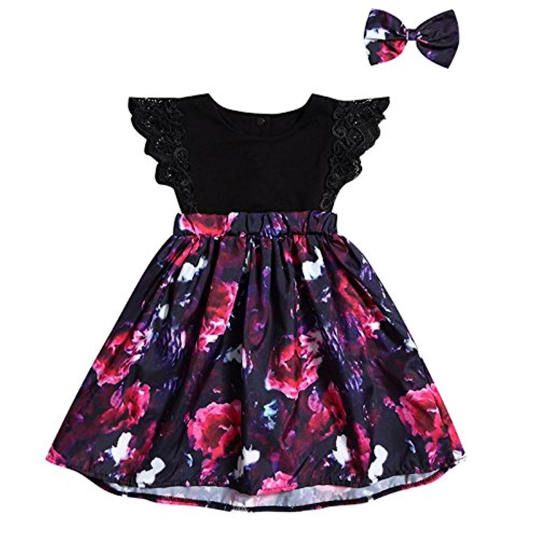 Liebeye 子供服 2点セット ワンピース ヘアバンド ベビー ドレス 女の子 赤ちゃん スカート 花柄 幼児