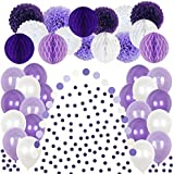 ラベンダーがテーマのパーティーデコレーション用品 - 50個のホワイト&パープルのペーパーティッシュポンポン & ハニカムボール 誕生日パーティー ウェディング ベビーシャワー ふわふわポンポン お揃いのバルーン ガーランド 紙吹雪付き