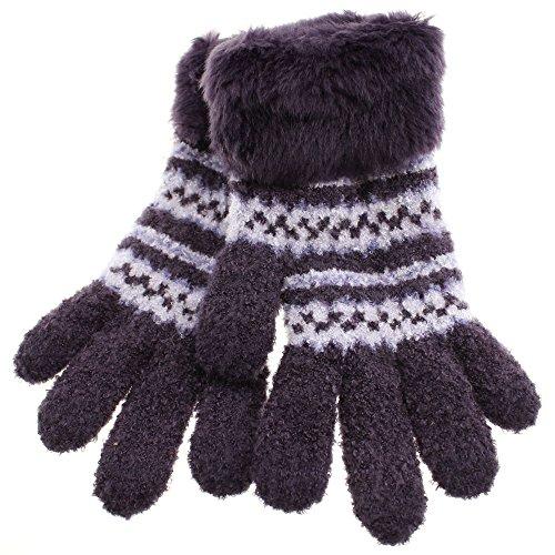 (Globe depot) GlovesDEPO fluffy there was carefree smartphone corresponding gloves irregular border pattern made in Japan