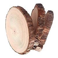 """天然木製スライス 木製ディスク ツリーバーク ログディスク付き DIY クラフト 木焼き クリスマス 素朴なウェディングオーナメント 3pcs (5-6"""") wood mayeec-1"""
