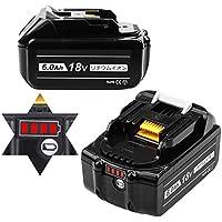 Boetpcr 互换 マキタ18vバッテリー BL1860B マキタ互换バッテリー マキタバッテリー 6.0Ah 18vバッテリー 2個セット LED残量表示 高品質なセル搭载 電動工具用バッテリー BL1830 / BL1840 / BL1850 / BL1860 対応 PSE認証取得済み 日本国内出荷 一年品質保証 無料交換可能