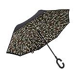 PLEMO 長傘 逆さ傘 迷彩柄 逆折り式傘 レジャー用 UVカット 晴雨兼用 手離れC型手元 耐風傘 撥水加工 ビジネス用車用 124センチ IU-03