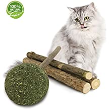 PetiJoy Lollipop Cat Catnip Chew Toys, Organic Catnip Ball and Matatabi Stick Combo(Silver Vine)