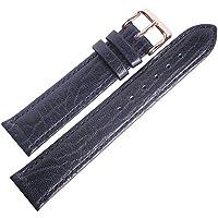 Flucoレコードbuffalo-grain 18mmショートブルーレザーローズゴールドバックルメンズ腕時計ストラップ