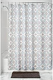 InterDesign Vintage Tile Fabric Shower Curtain, Polyester Shower Screen with Vintage-Look Tiled Pattern Design