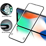 iPhone X Screen Protector Tempered Glass 5D Full Coverage, Meidom DUST-FREE Bubble Free Scratch Resistant Glass Screen Protector for iPhone X Compatible with FACE ID-Black