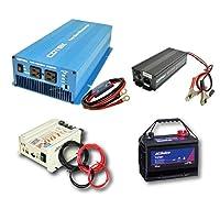 ワンゲイン車中泊スターターセット SKA1512B1S 正弦波インバーター1500W 12V+ディープサイクルバッテリー105Ah+走行充電器+充電器+保護用ヒューズ