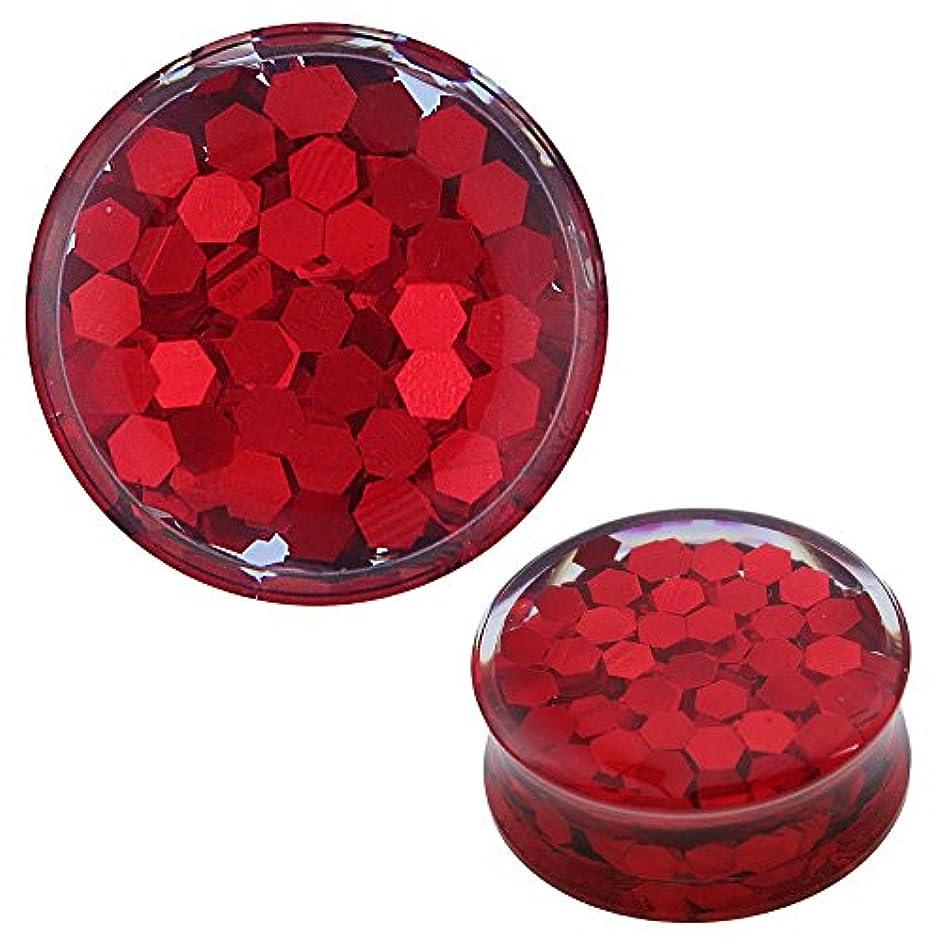 司令官垂直仲間プラグRed Glitter Honeycomb透明アクリルトンネルExpanderピアスイヤリング