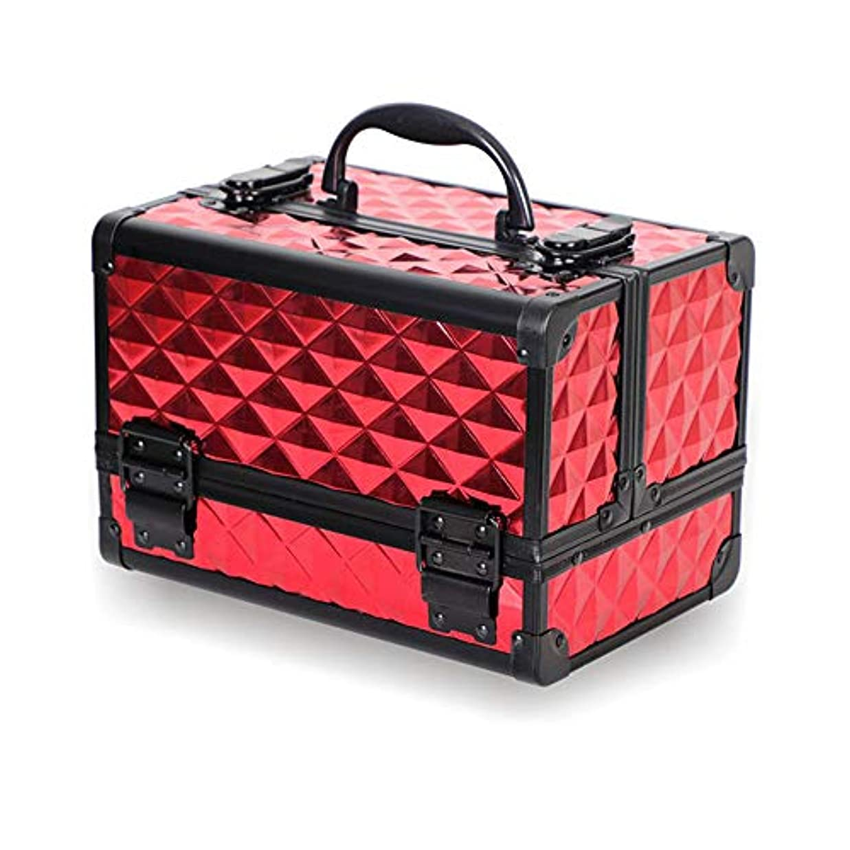 韓国語上向き騒乱特大スペース収納ビューティーボックス 美の構造のためそしてジッパーおよび折る皿が付いている女の子の女性旅行そして毎日の貯蔵のための高容量の携帯用化粧品袋 化粧品化粧台 (色 : 赤)