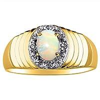 ダイヤモンド&オパールリング14Kイエローまたは14Kホワイトゴールド。