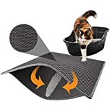 "ZUMURCH® Cat Litter Box Mat, Litter Trapper of Large Size 30"" X 22"", Honeycomb Double-Layer Design, Waterproof Urine Proof Material, Easy Clean and Floor Carpet Protection (Light Grey)"