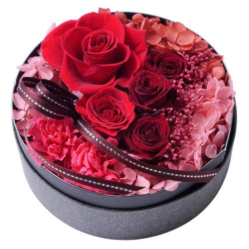 プリザーブドフラワー・BOXアレンジメント・サークル・レッド【プリザーブドフラワー・誕生日・記念日・御祝・母の日など】