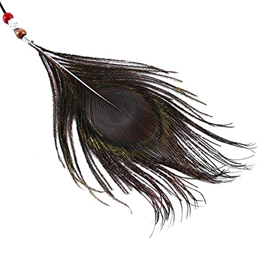 ベッドを作る浸漬選出するLUXWELL(ラクスウェル)ヘアアクセサリー 孔雀羽毛ヘアバンド ロング レディース ヘアバンド 髪飾り ヘッドバンド ヘアアレンジ 手編み フリーサイズ ボヘミア おしゃれ シンプル