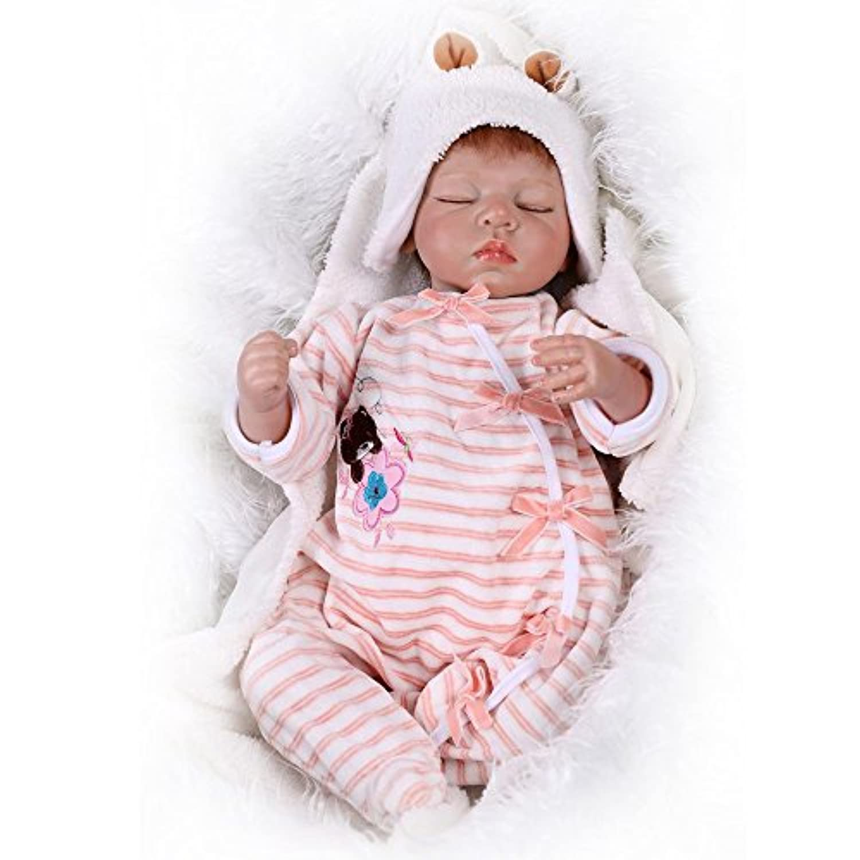 Rebornベビー人形ソフトSiliconeビニール人形Girls 55 cm Lifelike新生児Sleeping Baby Dolls with Clothes