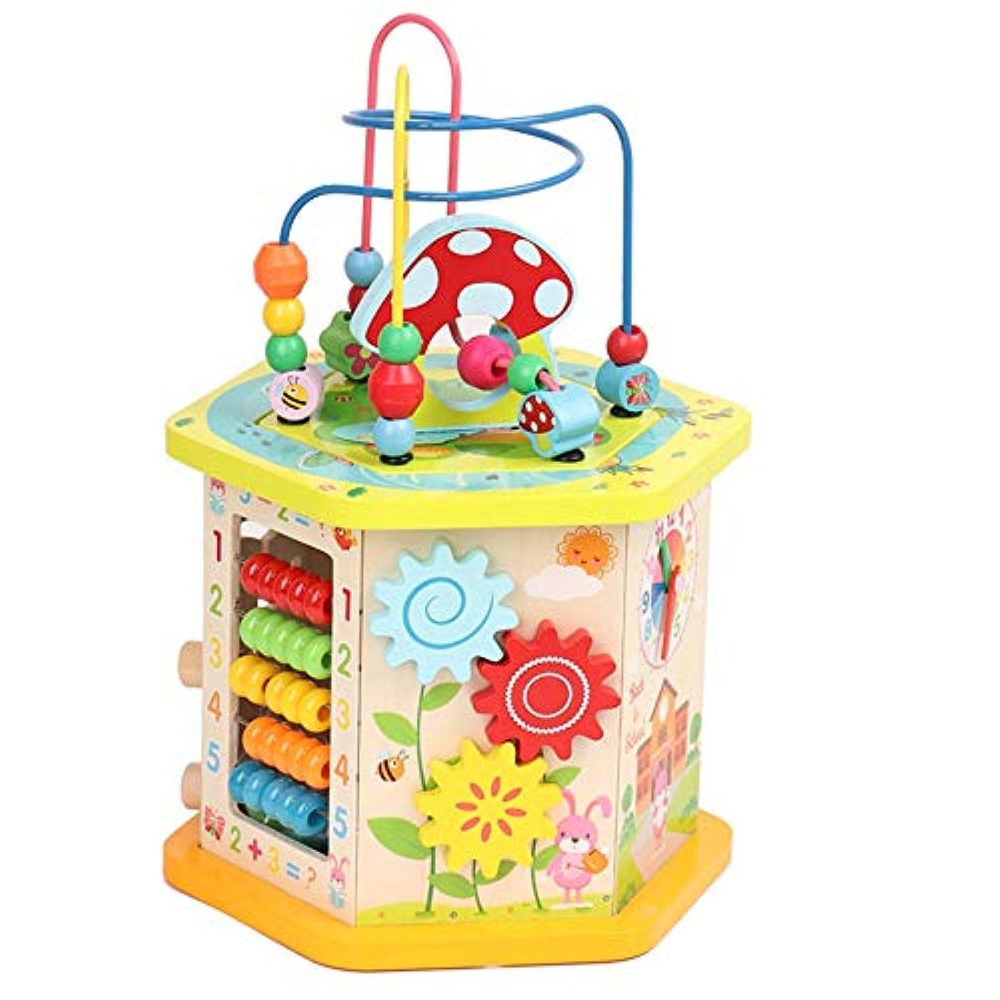 中毒有料フィードバックビーズコースター ルーピング パズル木製おもちゃ知的玩具赤ちゃんの早期教育六面体教育玩具、1-12男の子と女の子のためのギフトをビーズ (色 : マルチカラー, サイズ : 35x21cm)