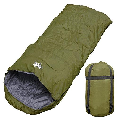 WhiteSeek(ホワイトシーク) 寝袋 シュラフ +5℃ 封筒型 ワイドサイズ コンパクト 抗菌仕様 (ダークグリーン)