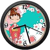 桜まつりサイレント壁時計ノンティック油絵ラウンドクロックホームオフィススクール装飾時計家の装飾10インチ