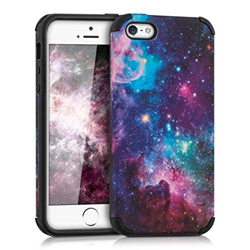 kwmobile ハイブリッド保護ケース 宇宙デザイン Apple iPhone SE / 5 / 5S用 マルチカラダークピンク黒色 - 携帯電話用頑丈なスタイリッシュな保護カバーケース