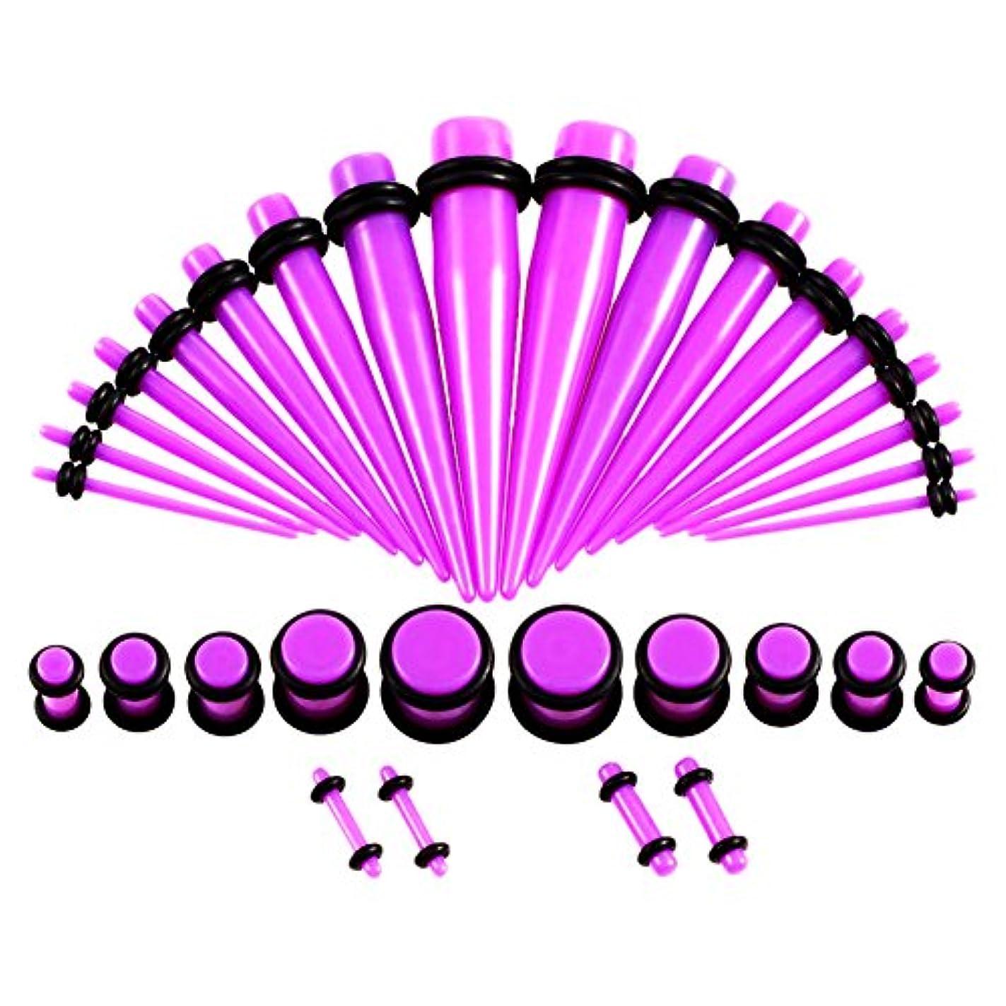 満足させる秋イサカRaiFu 耳ゲージ テーパとプラグ アクリル イヤーストレッチャーキット 36 PCS バイオレット