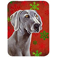 Carolines Treasures LH9341LCB Weimaraner Red And Green Snowflakes Holiday Christmas Glass Cutting Board, Large