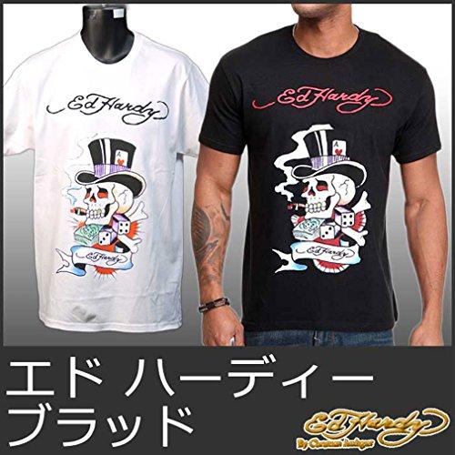 (エドハーディー) Ed Hardy 5221 -L白 エドハーディー Tシャツ メンズ t ブラッド 白 ホワイト 黒 ブラック 半袖 Mens Tee EH-003 L 【並行輸入品】