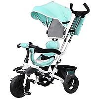 YANGFEI 子ども用自転車 赤ちゃん三輪車多目的車両折りたたみ式360度回転シート 2〜12歳 (色 : 青)