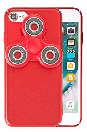 ハンドスピナー iPhoneケース iPhone8 iPhone7 ケース 薄型 カバー ストラップホール / レッド×レッド