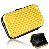 Ctbd スマホ 通帳 ケース スーツケース 型 旅行 バッグ ミニ キャリーバッグ スーツケース型 アメニティポーチ トラベルポーチ ABS+PC素材 (イエロー)