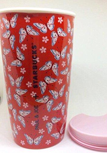 STARBUCKS 스타벅스 PAUL&JOE 코라보(콜라보레이션) 접나비 장 버터플라이 스타벅스 해외 한정 텀블러 12fl oz/355ml 머그 빨강 레드 도기 기프트《도》BOX 레어 박스 선물 빅 사이즈 대만-