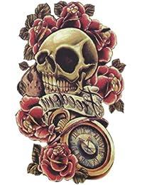 (ファンタジー) TheFantasy タトゥーシール スカル 薔薇 時計 yms009 【中型?A5】