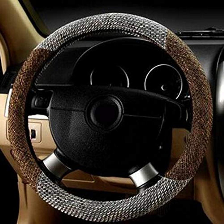 年露出度の高い残りBuqda 亜麻のリネン車のステアリングホイールカバー通気性ユニバーサル37-38センチメートル自動ステアリングホイール車カバー
