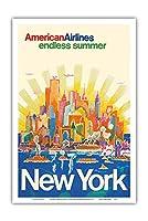 ニューヨーク - アメリカン航空 - 無限の夏 - ビンテージな航空会社のポスター によって作成された ハリー・ヴェンツィンガー c.1971 - アートポスター - 31cm x 46cm