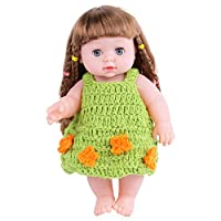 KIDDING 30cmハンドメイドセーター シミュレーション赤ちゃん 入浴人形 ソフトベビー 幼児教育 劇場 子供たち プリンセス 若い女の子 おもちゃ人形 (緑の花のセーターストレートヘア少女の人形)