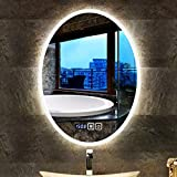 楕円形のミラーの掛かる壁、5MM HDの銀製ミラーは居間または浴室のための時間および温度の表示タッチスクリーン制御があります (Size : 75cmX100cm)