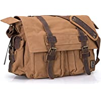"OFTEN Messenger Bag, Vintage Canvas Leather Satchel 15"" Laptop Crossbody Shoulder Bag with Straps for Men Women Military Travel Bag School Bag Boys Girls Teen Daypack [Army Green/Coffee]"