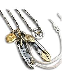 「silverKYASYA」シルバー925素材 ネイティブ定番人気! カスタム フェザーネックレス 925 特大フェザー 燻し 銀 ネックレス メンズ 金爪 ターコイズ 上金ハート 4種類! (Bタイプ)