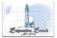 Brigantineビーチ、新しいジャージー–ビーチチェアと傘–ブルー–Coastalアイコン 12 x 18 Metal Sign LANT-76340-12x18M